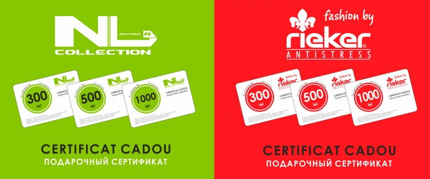 Certificate cadou in reteau magazinelor NL Collection si Rieker